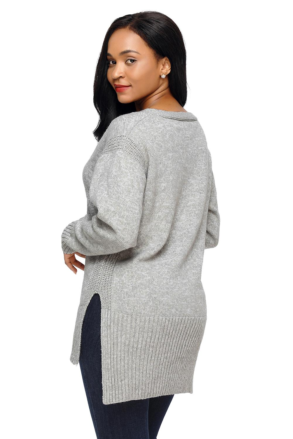 Henry High Low Sweater in Grey