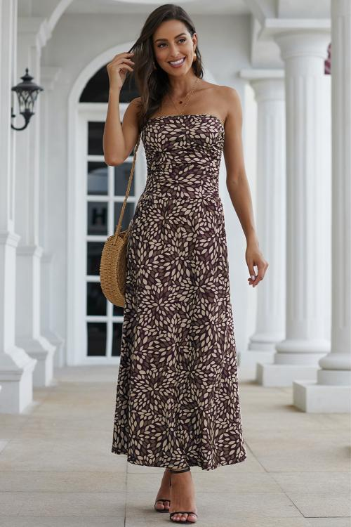 Amber Maxi in Brown Tones Print
