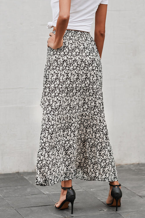 Mary Floral Long Skirt in Black