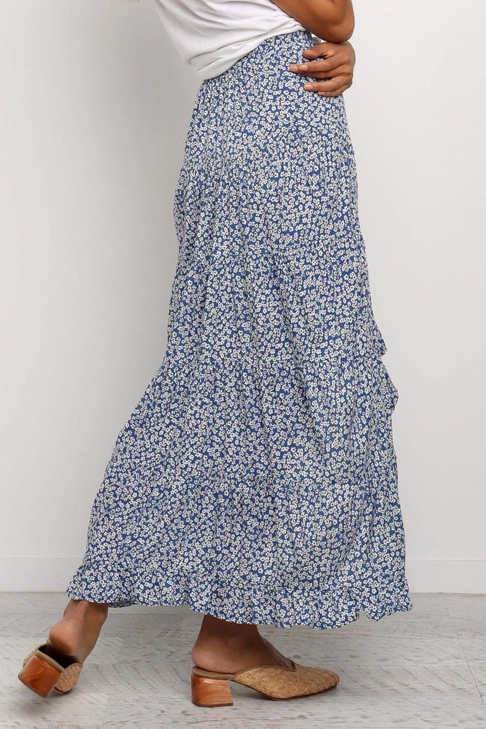Mary Floral Long Skirt in Navy
