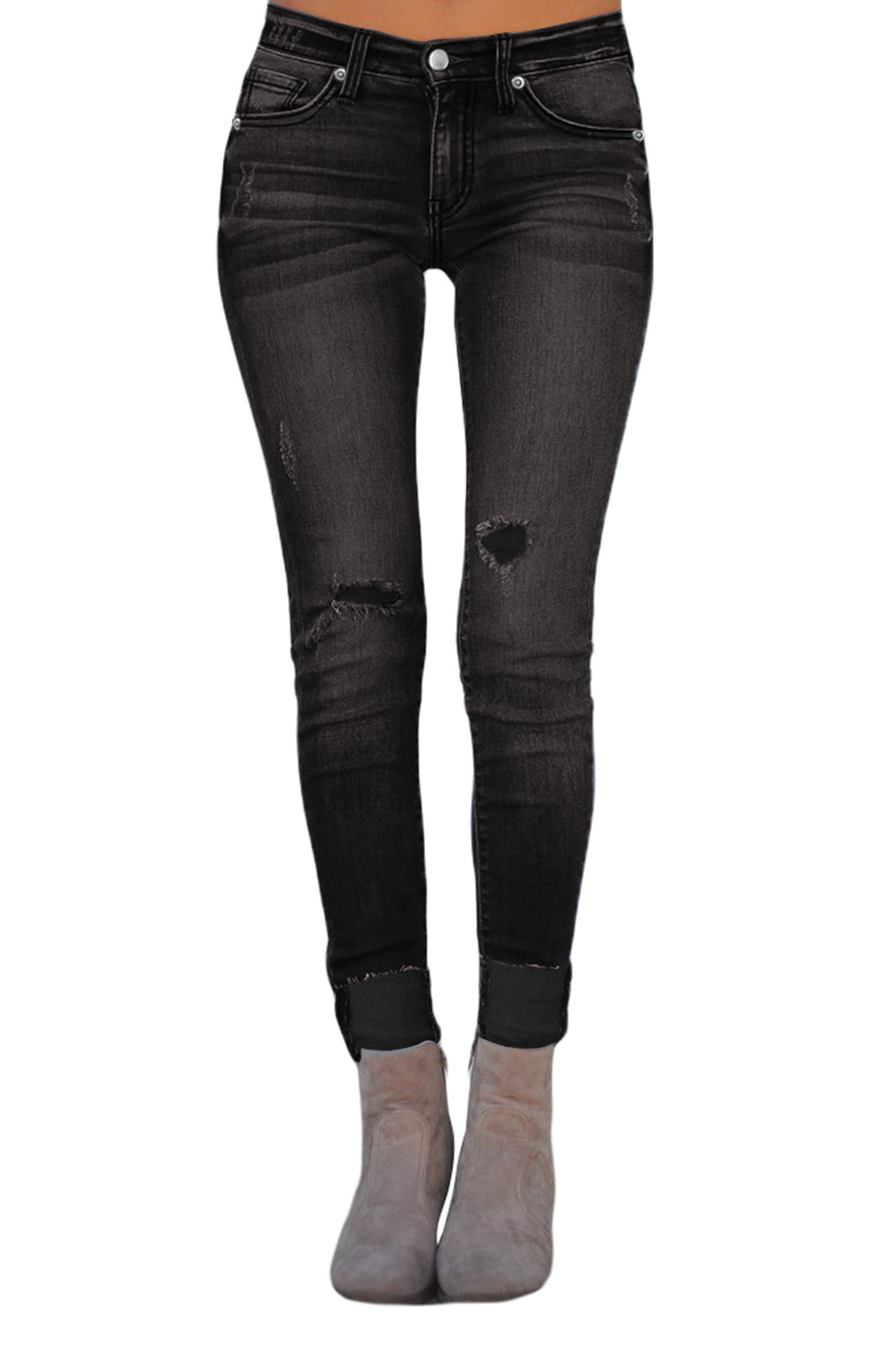 Joey Distressed Skinny Stretch Jeans in Black