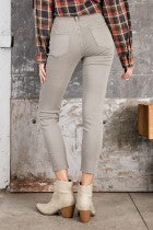 Elizabeth Ripped Stretch Jeans in Taupe