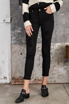 Elizabeth Ripped Stretch Jeans in Black