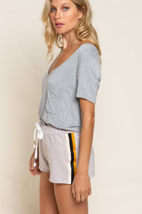 Bebe V Pocket Tee in Vintage Grey