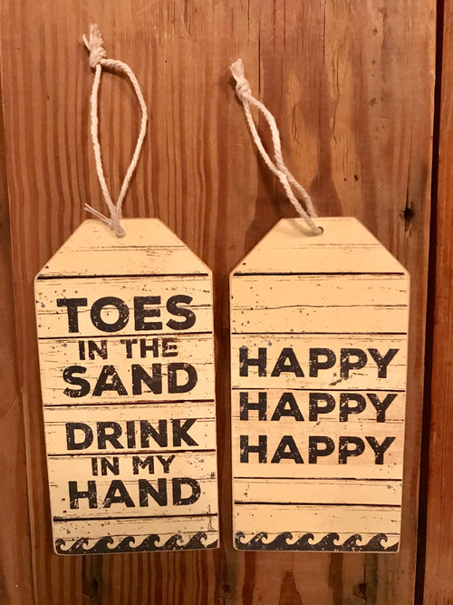 Toes In The Sand Bottle Tag