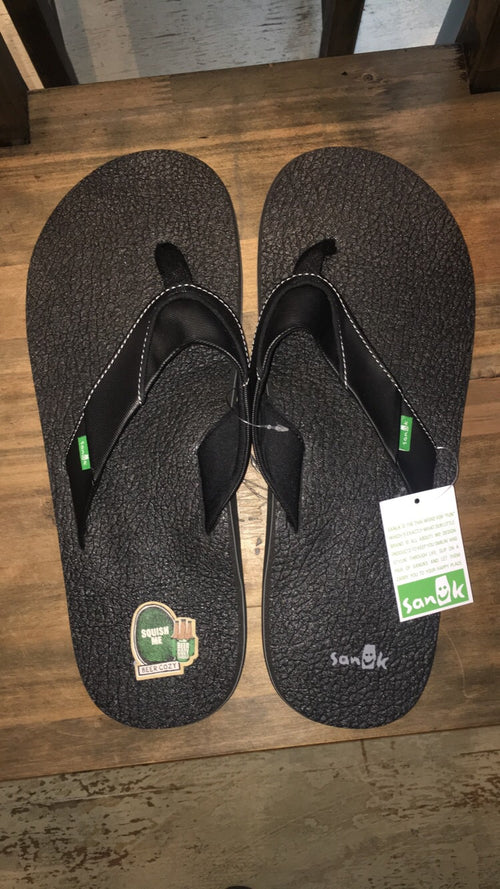 Big & Tall Beer Cozy 2 Sanuk Men's Sandals in Black