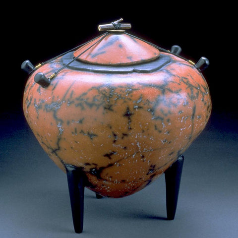 Red and Black Amphora, a large pinch pot by Kristin Doner