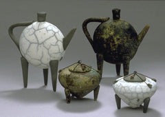 Teapots and Miniatures, slab construction and pinch pots, by Kristin Doner