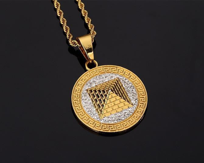 3d silver and 18k gold plated pyramid necklace ancient explorers