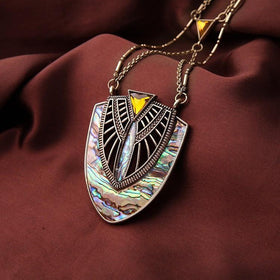 Abalone Shell Scarab Inspired Gold Layered Necklace Necklaces