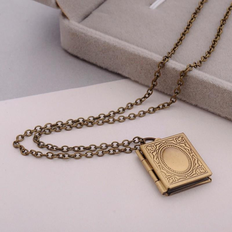 Beautiful engraved story book locket ancient explorers beautiful engraved story book locket bronze necklaces aloadofball Images