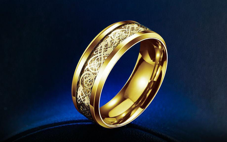 Dragon Titanium Ring Gold and Gold / 7 Rings