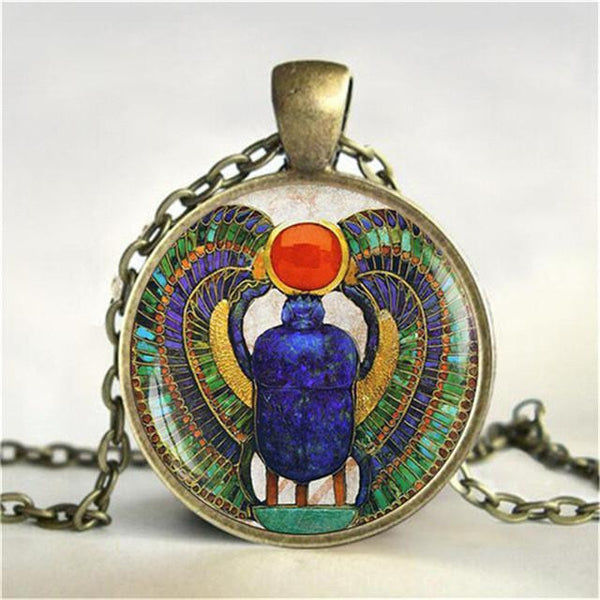 Egyptian Scarab Glass Dome Pendant Necklace Ancient