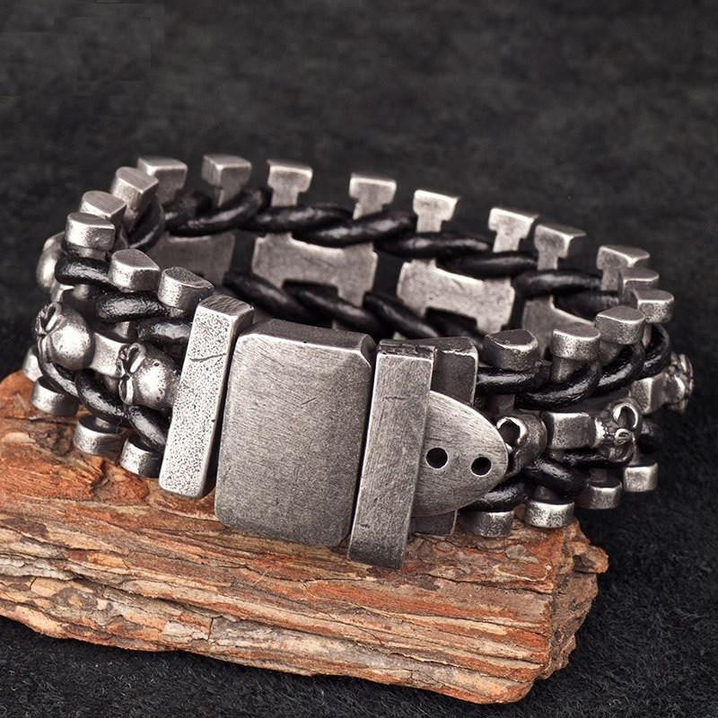 Leather Woven Stainless Steel Skull Bracelet - Ancient Explorers