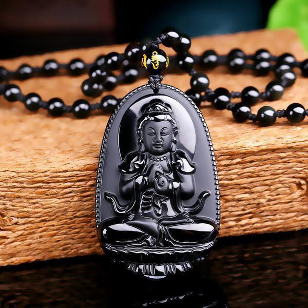 Natural obsidian hand carved buddha amulet pendant necklace natural obsidian hand carved buddha amulet pendant necklace buddha necklace 2 necklaces mozeypictures Choice Image