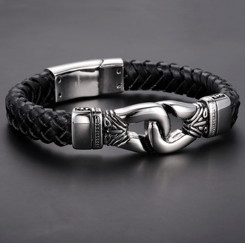 Stainless Steel Aztec Braided Leather Bracelet Ancient