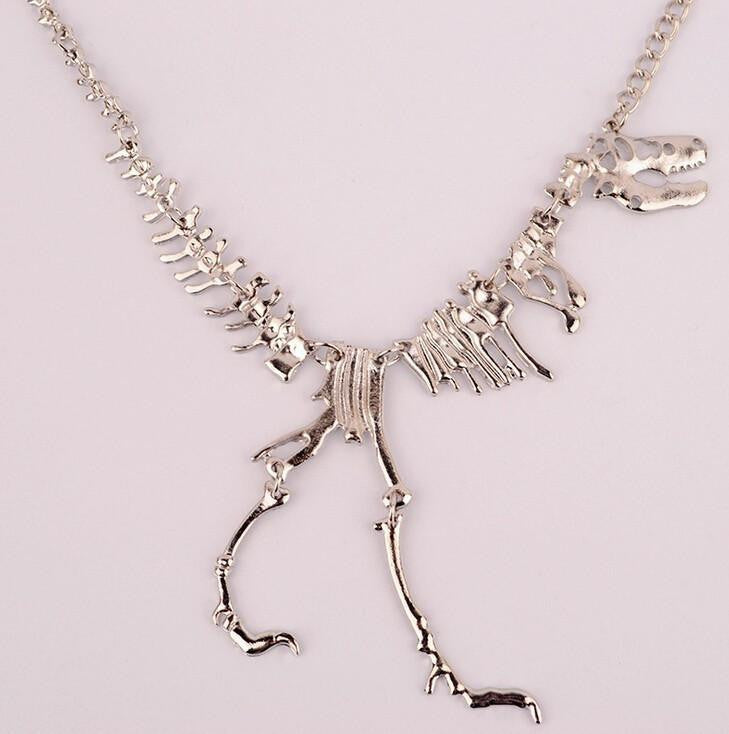 T rex skeleton necklace ancient explorers t rex skeleton necklace silver necklaces aloadofball Image collections