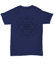 Load image into Gallery viewer, Sacred Geometry Dark T Shirt - Blue Frog Treasures
