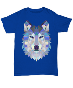 Geometry Wolf T Shirt - Blue Frog Treasures