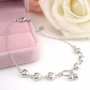 Silver Hearts Anklet - Blue Frog Treasures