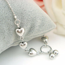 Load image into Gallery viewer, Silver Hearts Anklet - Blue Frog Treasures