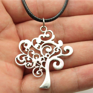 Silver Tree Waves Necklace - Blue Frog Treasures