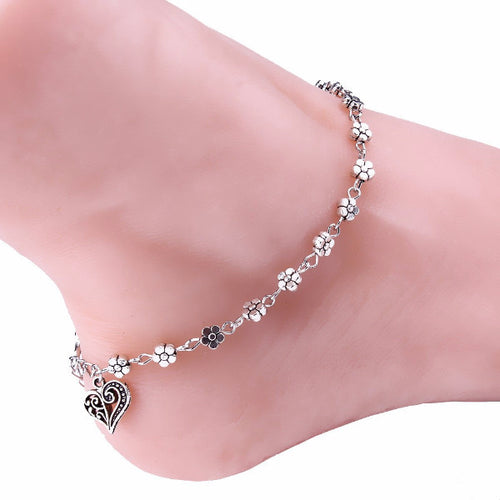 Hearts and Flowers Anklet - Blue Frog Treasures