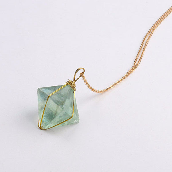 Wire Wrapped Fluorite Pendant Necklace - Blue Frog Treasures