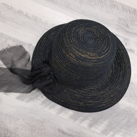 Sasha Sun Hat in Black & Gold - The Mimi Boutique