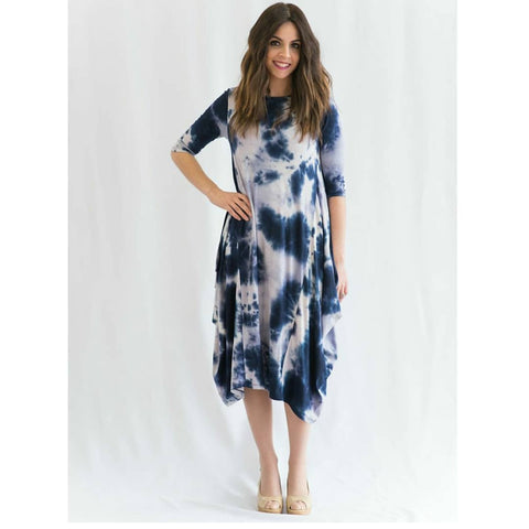 Georgiana Dress Cloud Tye Dye - Blue - The Mimi Boutique