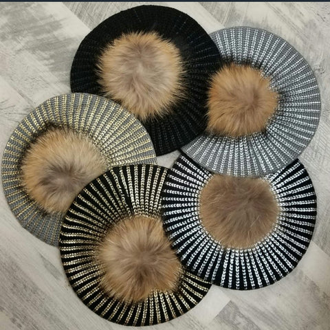 Metallic Knit Pom Pom Beret (6 colors)