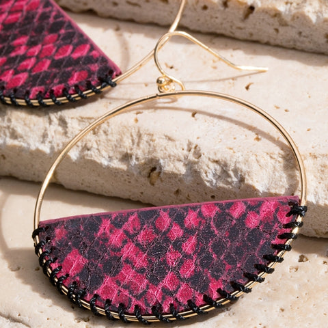 Snake print Hoop Earring - The Mimi Boutique