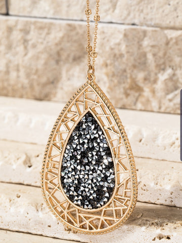 Crushed Rhinestone Teardrop Necklace