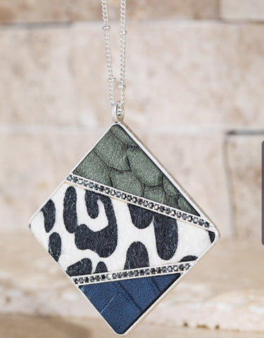 Square Animal Mix Necklace: Blue/Green