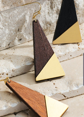 Wood Gold Triangle Earring Collection