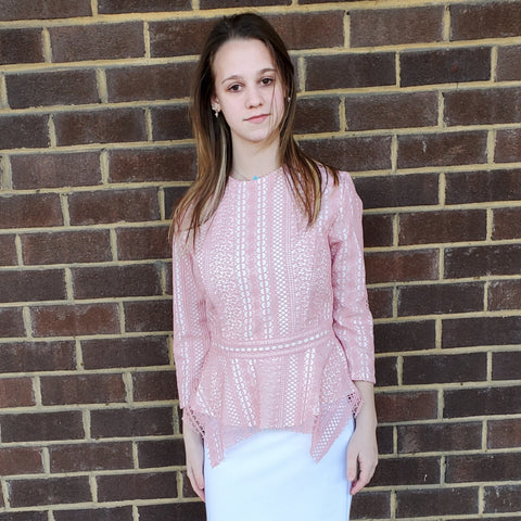 Madison Peplum Top: Pink - The Mimi Boutique