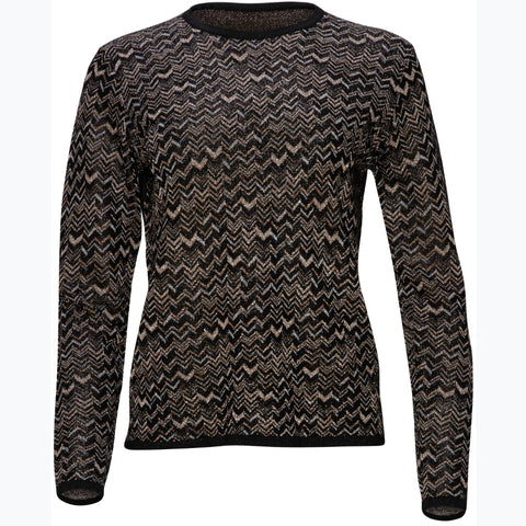Chevron Shimmer Sweater by Yal: Gold