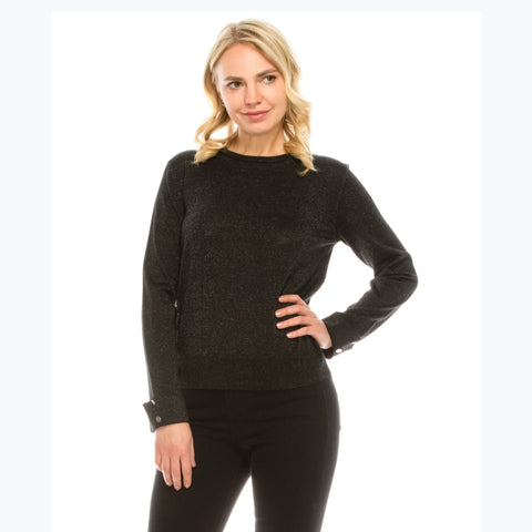 Black Lurex Button Sleeve Sweater by Yal - The Mimi Boutique