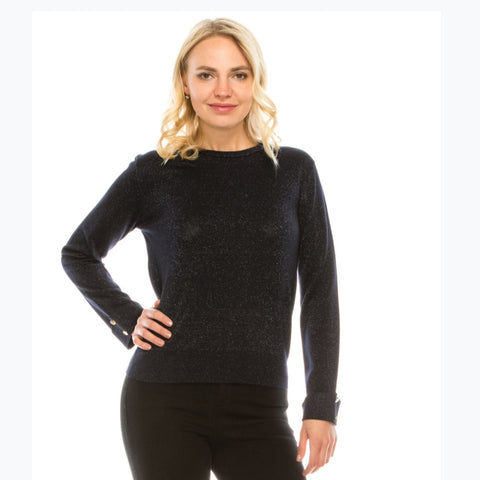 Navy Lurex Button Sleeve Sweater by Yal