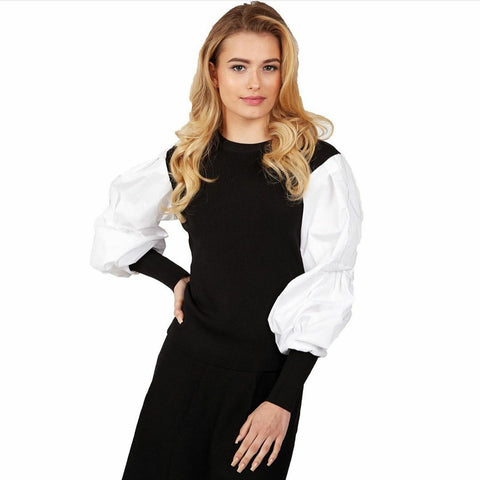 Puff Black & White Sweater Blouse Top