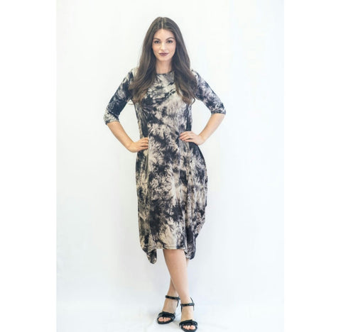 Georgiana Dress Tye Dye -Blackish Grey Tye Dye
