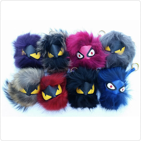Monster Fur Pom Keychain - The Mimi Boutique