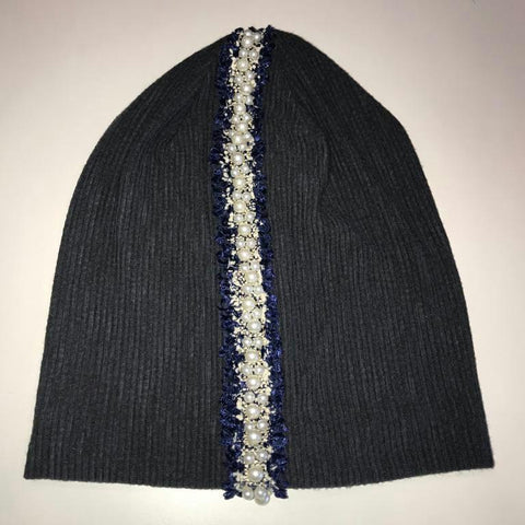 Pearl Trim Ribbed Beanie - The Mimi Boutique