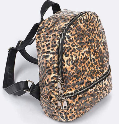 Sequin Mini Backpack: Leopard - The Mimi Boutique