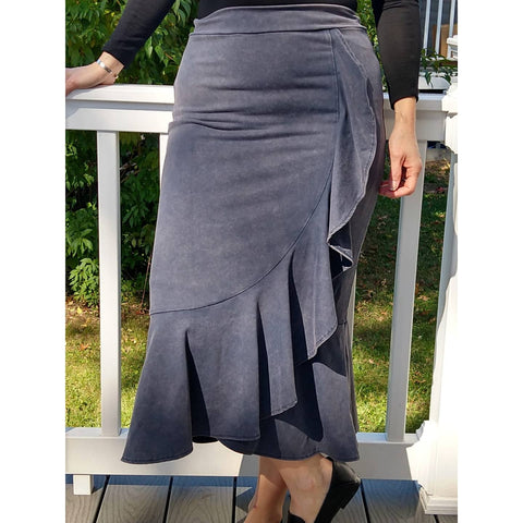 Mineral Wash Ruffle Skirt by Ivee