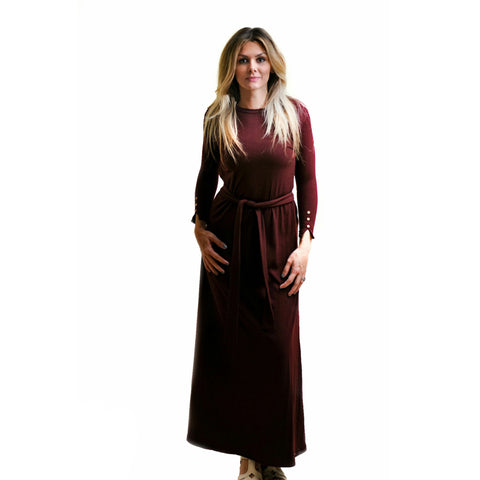 Ribbed Maxi Dress: Burgundy (Havah Tribe) - The Mimi Boutique