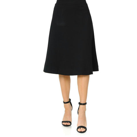 "Ponti Ivee Aline Skirt: Black 27"" - The Mimi Boutique"