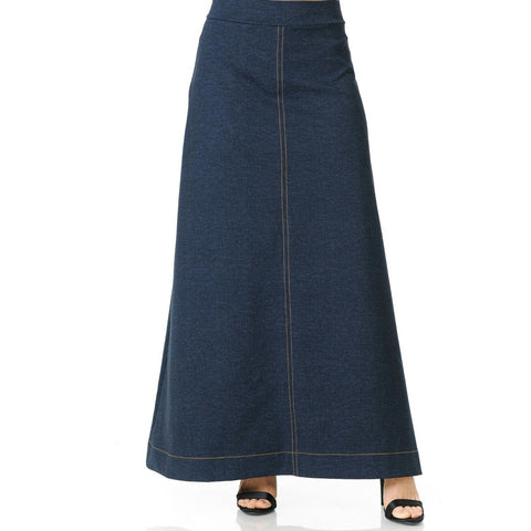 Mock Long Denim Skirt By Ivee - The Mimi Boutique