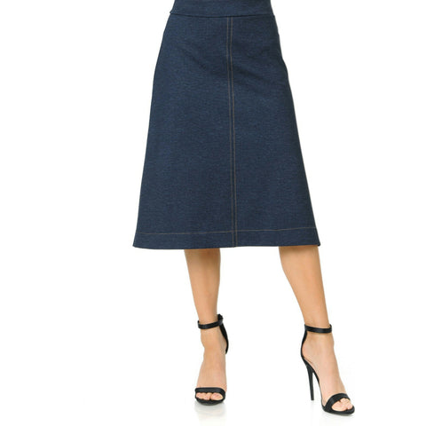 Mock Denim Ivee Skirt: Knee Length - The Mimi Boutique