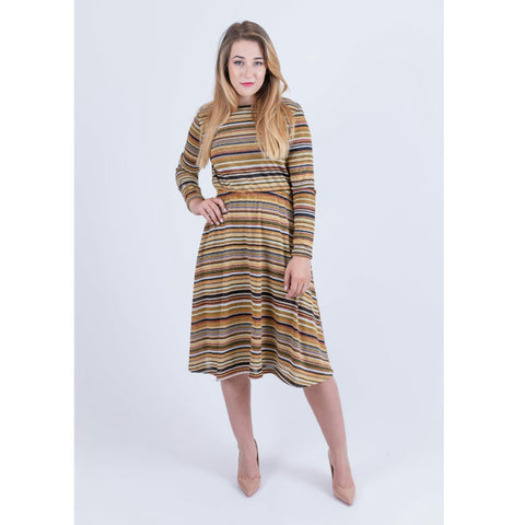 Everything Sparkle Dress: Brown/Gold Stripe - The Mimi Boutique